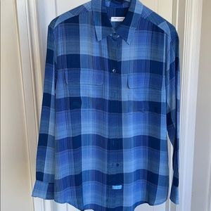Blue plaid silk blouse